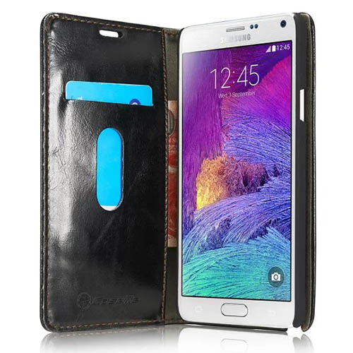 CaseMe Samsung Galaxy Note 4 Magnetic Flip Leather Wallet Case Black