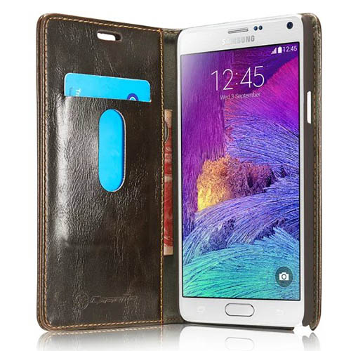 CaseMe Samsung Galaxy Note 4 Magnetic Flip Leather Wallet Case Brown