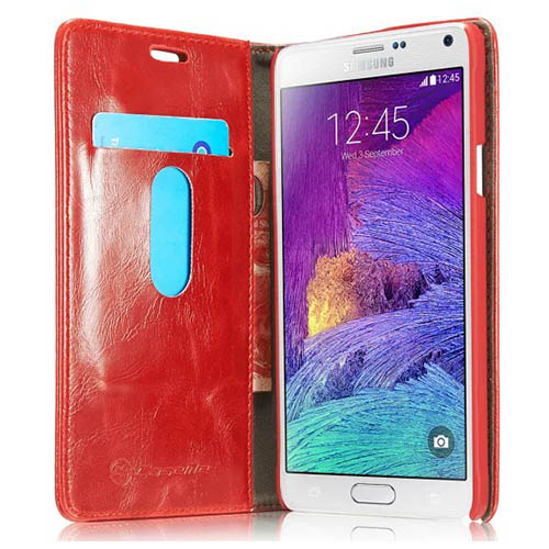 CaseMe Samsung Galaxy Note 4 Magnetic Flip Leather Wallet Case Red