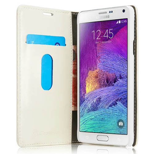 CaseMe Samsung Galaxy Note 4 Magnetic Flip Leather Wallet Case White