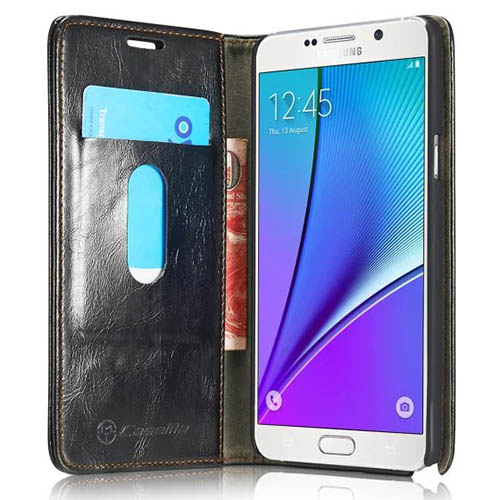 CaseMe Samsung Galaxy Note 5 Magnetic Flip Leather Wallet Case Black
