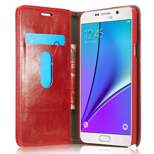 CaseMe Samsung Galaxy Note 5 Magnetic Flip Leather Wallet Case Red