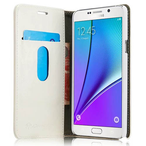 CaseMe Samsung Galaxy Note 5 Magnetic Flip Leather Wallet Case White