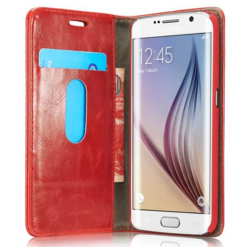 CaseMe Samsung Galaxy S6 Edge Plus Magnetic Flip Leather Wallet Case Red