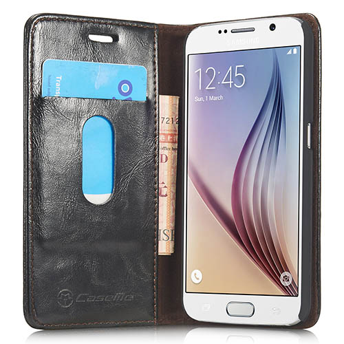 CaseMe Samsung Galaxy S6 Magnetic Flip Leather Wallet Case Black