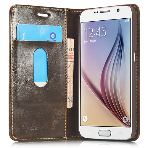 CaseMe Samsung Galaxy S6 Magnetic Flip Leather Wallet Case Brown
