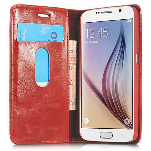 CaseMe Samsung Galaxy S6 Magnetic Flip Leather Wallet Case Red