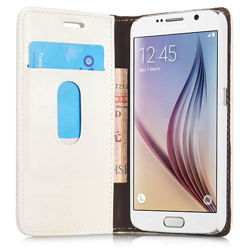 CaseMe Samsung Galaxy S6 Magnetic Flip Leather Wallet Case White