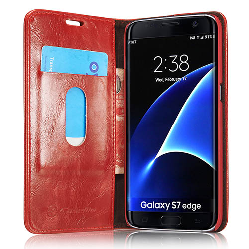 CaseMe Samsung Galaxy S7 Edge Magnetic Flip Leather Wallet Case Red