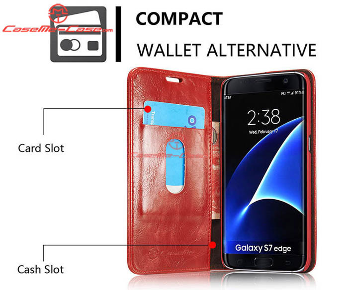 caseme samsung galaxy s7 edge magnetic flip leather wallet case red. Black Bedroom Furniture Sets. Home Design Ideas