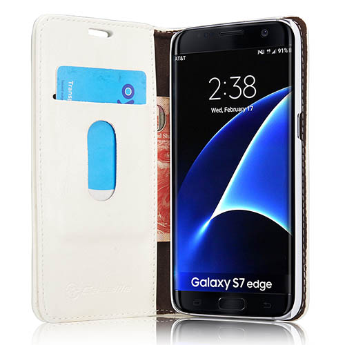 CaseMe Samsung Galaxy S7 Edge Magnetic Flip Leather Wallet Case White