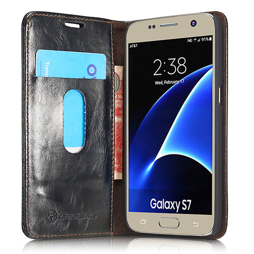 CaseMe Samsung Galaxy S7 Magnetic Flip Leather Wallet Case Black
