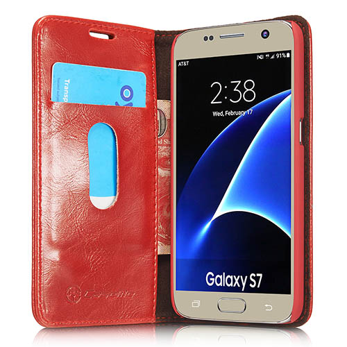 CaseMe Samsung Galaxy S7 Magnetic Flip Leather Wallet Case Red