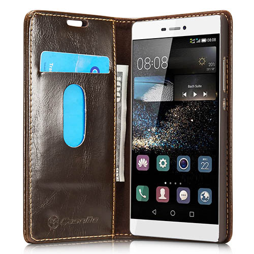 CaseMe 003 HuaWei P8 Magnetic Flip Leather Wallet Case Brown