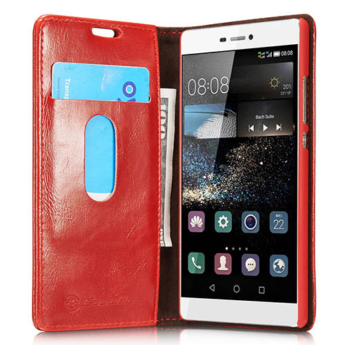 CaseMe 003 HuaWei P8 Magnetic Flip Leather Wallet Case Red