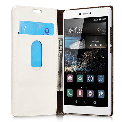 CaseMe 003 HuaWei P8 Magnetic Flip Leather Wallet Case White