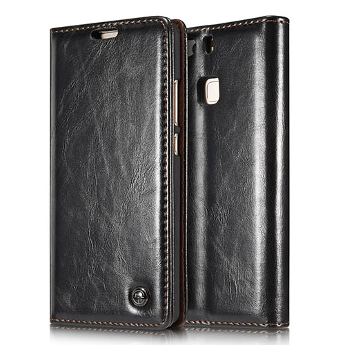 CaseMe 003 HuaWei P9 Magnetic Flip Leather Wallet Case Black