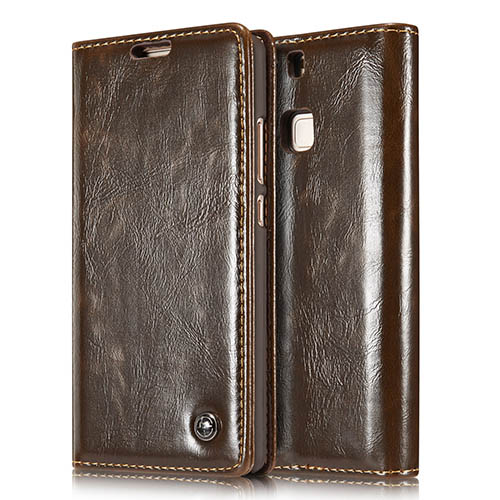 CaseMe 003 HuaWei P9 Magnetic Flip Leather Wallet Case Brown