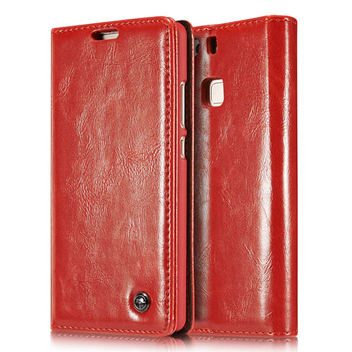 CaseMe 003 HuaWei P9 Magnetic Flip Leather Wallet Case Red