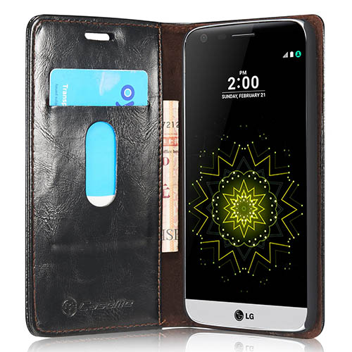 CaseMe 003 LG G5 Magnetic Flip Leather Wallet Case Black