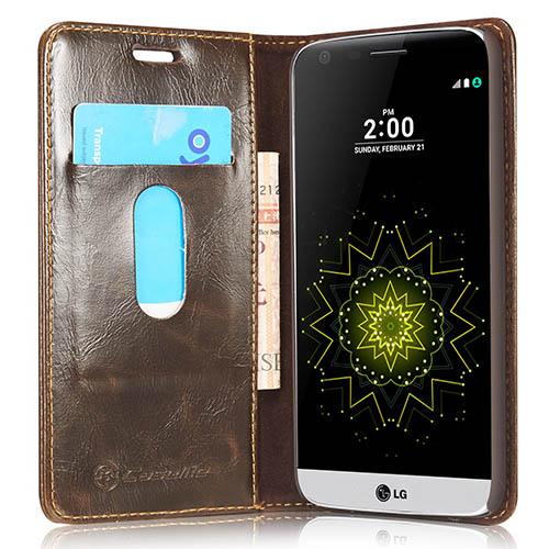 CaseMe 003 LG G5 Magnetic Flip Leather Wallet Case Brown