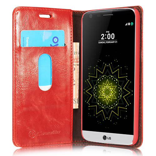 CaseMe 003 LG G5 Magnetic Flip Leather Wallet Case Red