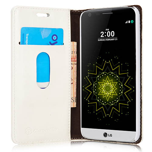 CaseMe 003 LG G5 Magnetic Flip Leather Wallet Case White