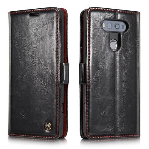CaseMe 003 LG G20 Magnetic Flip Leather Wallet Case Black
