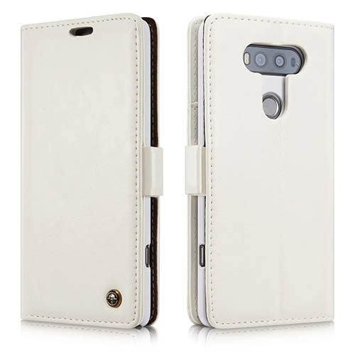 CaseMe 003 LG G20 Magnetic Flip Leather Wallet Case White