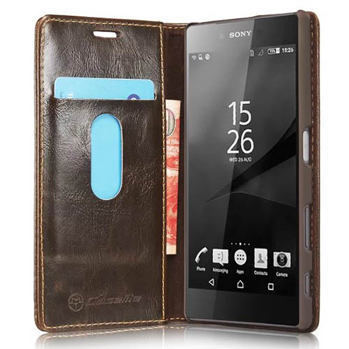 CaseMe Sony Xperia Z5 Magnetic Flip Leather Wallet Case Brown