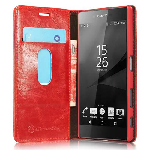 CaseMe Sony Xperia Z5 Magnetic Flip Leather Wallet Case Red