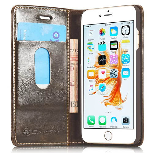 CaseMe iPhone 6S Magnetic Flip Leather Wallet Case Brown