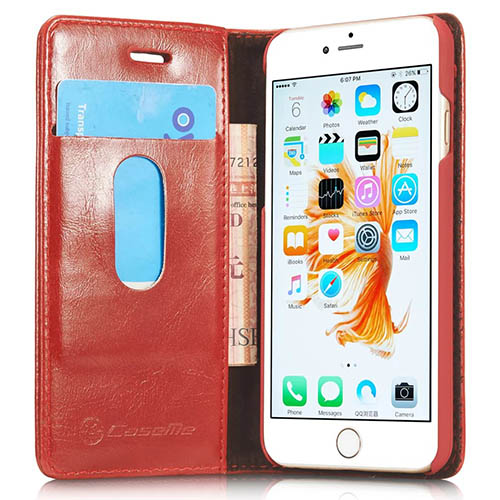CaseMe iPhone 6S Magnetic Flip Leather Wallet Case Red