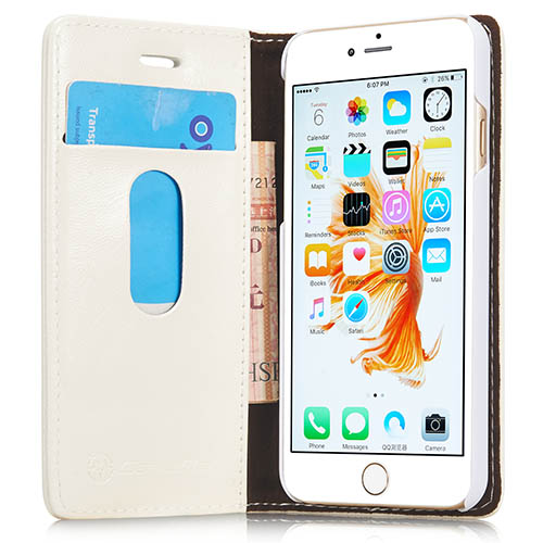 CaseMe iPhone 6S Magnetic Flip Leather Wallet Case White