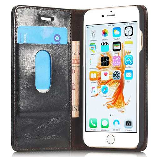 CaseMe iPhone 6S Plus Magnetic Flip Leather Wallet Case Black