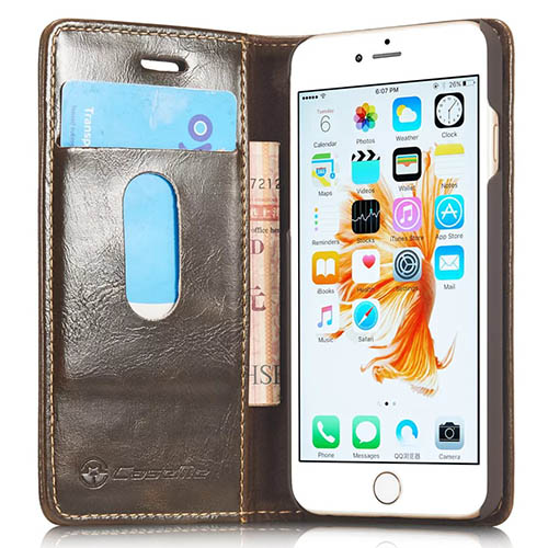 CaseMe iPhone 6S Plus Magnetic Flip Leather Wallet Case Brown