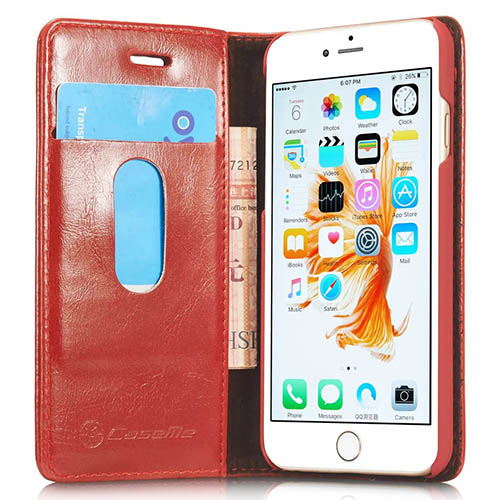 CaseMe iPhone 6S Plus Magnetic Flip Leather Wallet Case Red