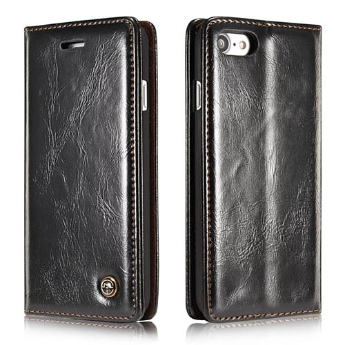 CaseMe iPhone 7 Magnetic Flip Leather Wallet Case Black