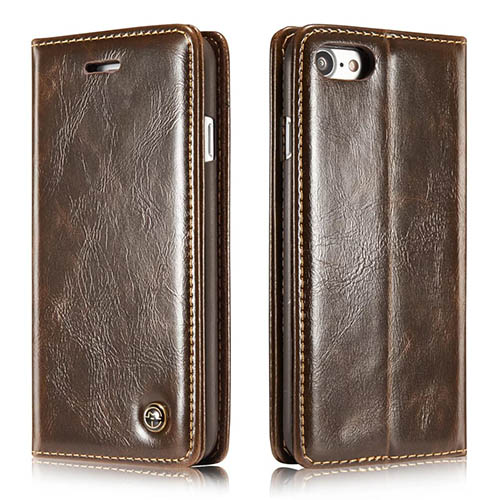 CaseMe iPhone 7 Magnetic Flip Leather Wallet Case Brown