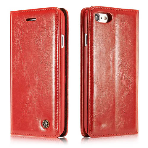 CaseMe iPhone 7 Magnetic Flip Leather Wallet Case Red