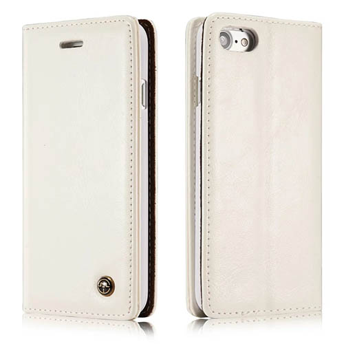 CaseMe iPhone 7 Magnetic Flip Leather Wallet Case White