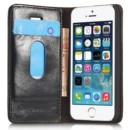 CaseMe iPhone 5S/ 5 Magnetic Flip Leather Wallet Case Black