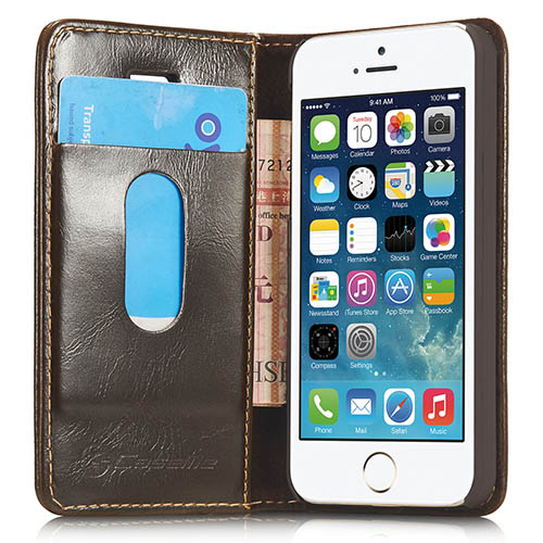 CaseMe iPhone 5S/ 5 Magnetic Flip Leather Wallet Case Brown