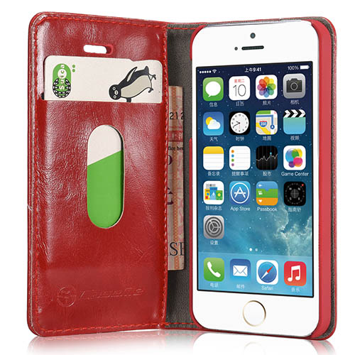 CaseMe iPhone 5S/ 5 Magnetic Flip Leather Wallet Case Red