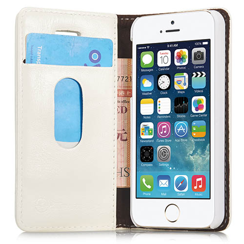 CaseMe iPhone 5S/ 5 Magnetic Flip Leather Wallet Case White
