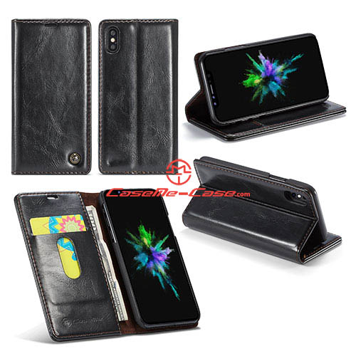 CaseMe iPhone X Wallet Magnetic Stand PU Leather Case Black
