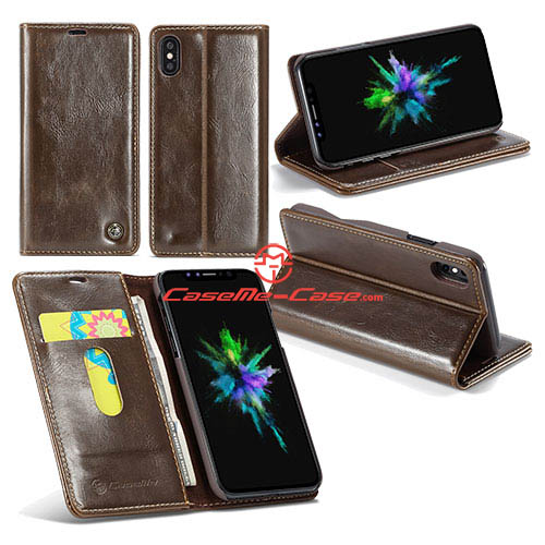 CaseMe iPhone X Wallet Magnetic Stand PU Leather Case Brown