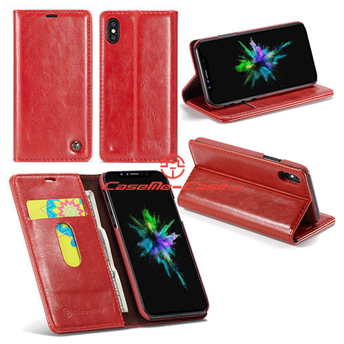 CaseMe iPhone X Wallet Magnetic Stand PU Leather Case Red