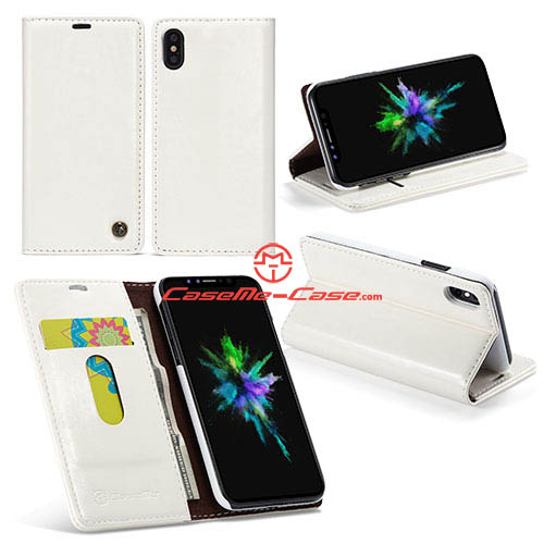 CaseMe iPhone X Wallet Magnetic Stand PU Leather Case White