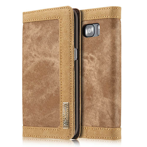 CaseMe Samsung Galaxy S7 Edge Jeans Leather Stand Wallet Case Brown